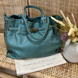 Sac cuir Béatrice Turquoise