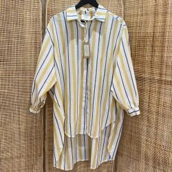 Robe chemise gris et jaune