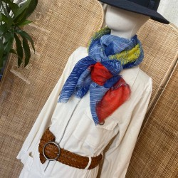 Foulard palme bleu